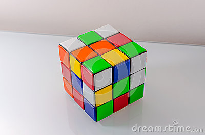 Unsolved Rubiks Cube Editorial Image