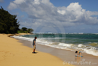 Unspoiled north shore beach in Oahu, Hawaii