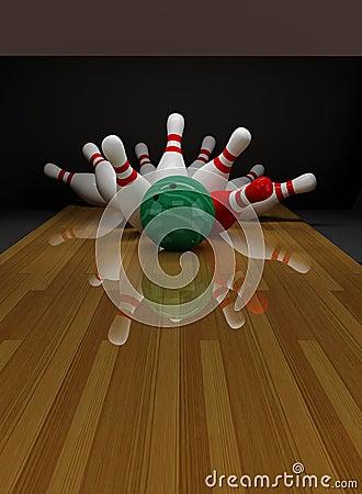 Unterbrochene Skittles im Bowlingspiel
