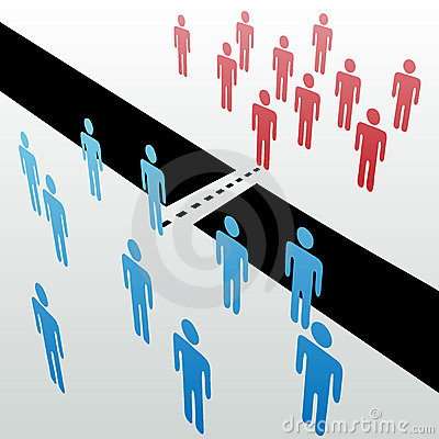 Unterschiedliche Leute, die Gruppen verbinden, vereinigen Merge zusammen