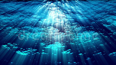 Unterwassermeereswogen plätschern und fließen mit hellen Strahlen