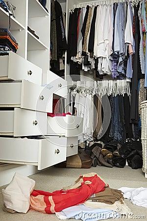 Free Untidy Teenage Bedroom With Messy Wardrobe Stock Image - 54967051
