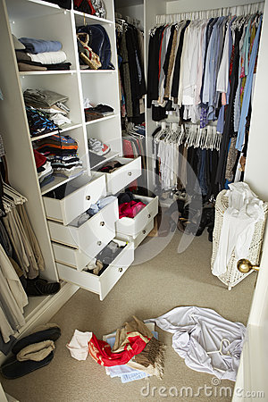 Free Untidy Teenage Bedroom With Messy Wardrobe Royalty Free Stock Image - 55895596