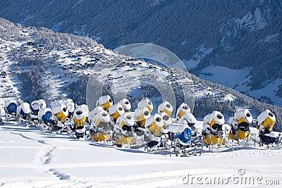 Unused snow cannons