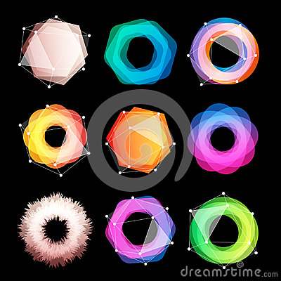 Free Unusual Abstract Geometric Shapes Vector Logo Set. Circular, Polygonal Colorful Logotypes Collection On The Black Stock Images - 94575434