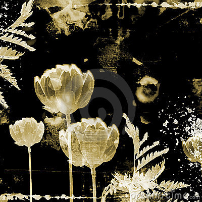 Unusual grunge background with flowers