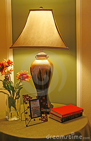 Unusual lamp on night stand