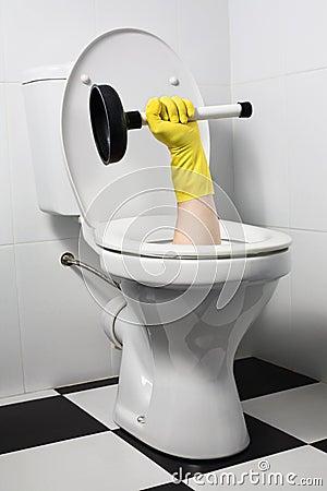Unusual plumber with plunger (joke)