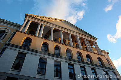 Unusual view of the Massachusetts State House at Sunset