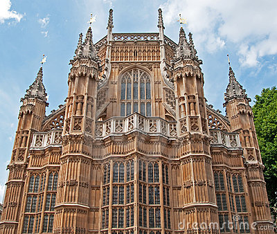 Unusual view of Westminster Abbey, London