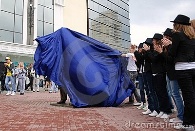 Unveiling of monument to Michael Jackson. Editorial Stock Photo