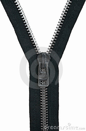 Unzipped black zipper