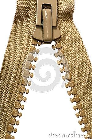 Unzipped brown zipper