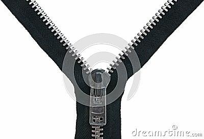 Unzipped metal zipper