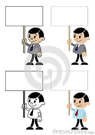 Uomini dell ufficio con il segno in bianco