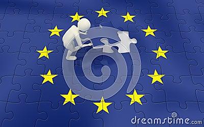 Uomo 3d che finisce puzzle della bandierina di Unione Europea