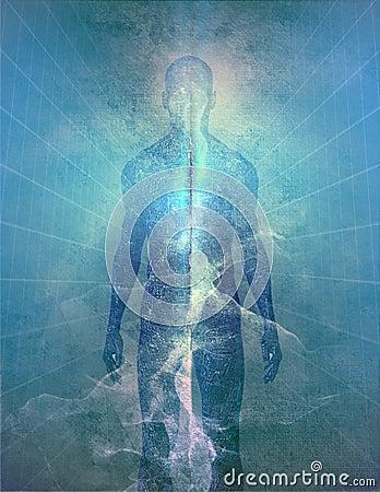 Uomo astratto di indicatore luminoso in aqua