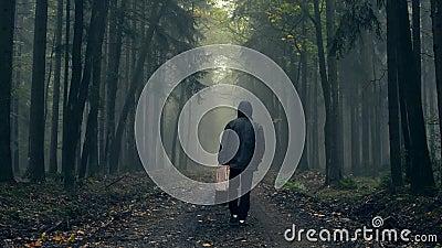 Uomo in cappotto con la vecchia valigia in una foresta nebbiosa di autunno archivi video