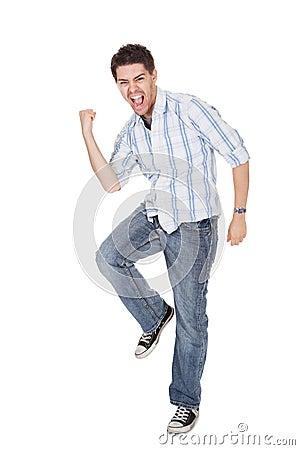 Uomo casuale che grida per la gioia