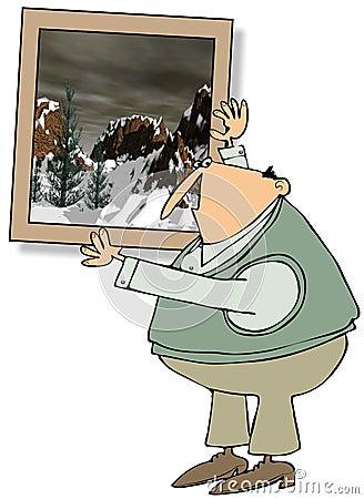 Uomo che appende una grande pittura