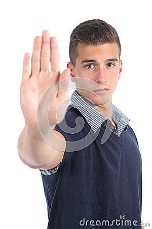 Uomo che gesturing fermata