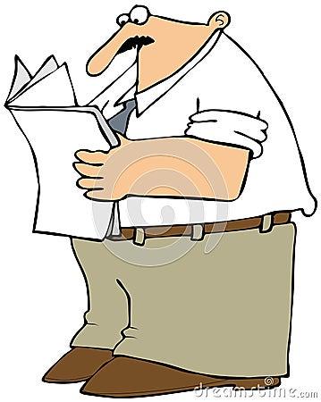 Uomo che legge il documento