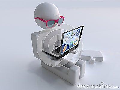 Uomo con il computer portatile ed i vetri trasparenti