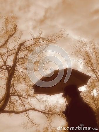 Uomo con l ombrello.