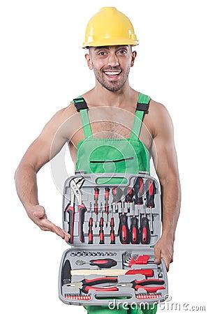 Uomo con la borsa degli arnesi