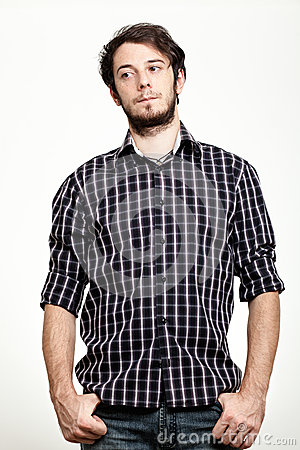 Uomo con la camicia Checkered