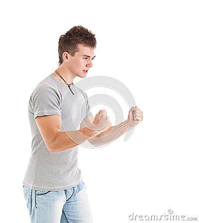 Uomo con le braccia in su
