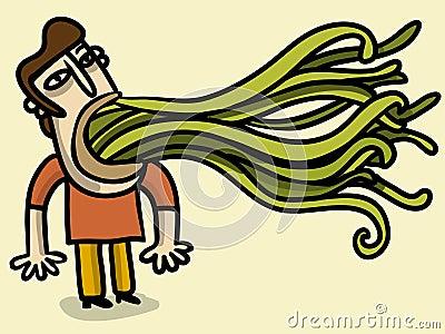 Uomo con uscire di tentacoli della sua bocca