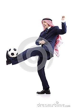 Uomo d affari arabo con calcio