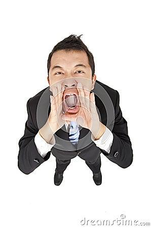 Uomo d affari con gridare