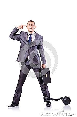 Uomo d affari con i dispositivi d ancoraggio