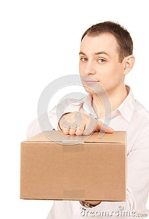 Uomo d affari con il pacchetto