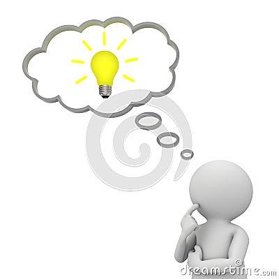 uomo lampadina : Uomo 3d che pensa con la lampadina di idea nella bolla di pensiero ...