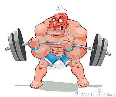 Uomo del muscolo, fumetto divertente e carattere. oggetto isolato