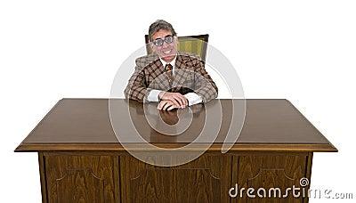 Uomo di affari divertenti o capo, grande sorriso isolato