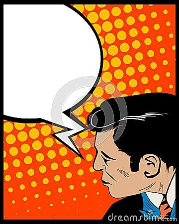 Uomo di arte di schiocco della bolla di discorso
