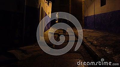 Uomo in djellaba marocchino tradizionale che cammina sulla via di Rabat Kasbah, la capitale del Marocco stock footage