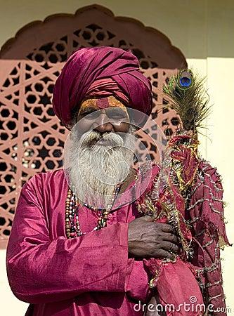Uomo indiano nel Ragiastan Fotografia Editoriale