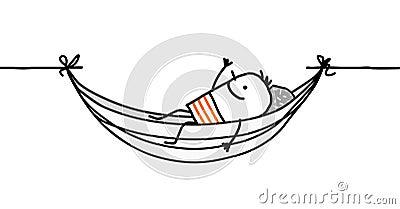 Uomo in un hammock