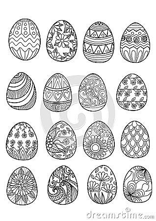 Uova di pasqua disegnate a mano per il libro da colorare - Uova di pasqua decorati a mano ...