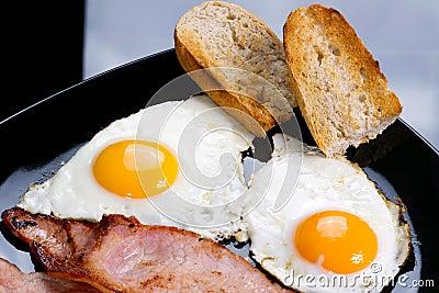 Uova, pancetta affumicata e pane tostato