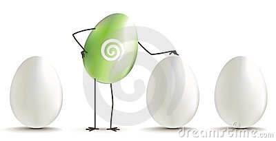 Uovo verde fra le uova bianche