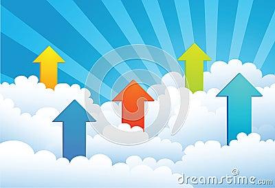 Up Arrow through cloud