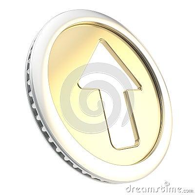 Up arrow icon emblem as golden coin token