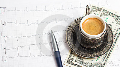Сup of coffee with 3 dollars tip