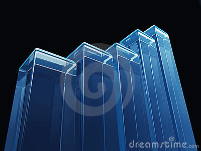 Up Trend Bar Graph Blue